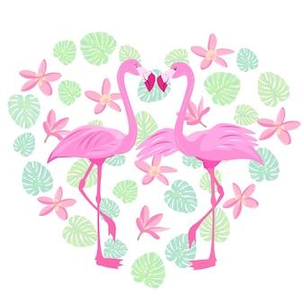 Rosa amor flamingo dia dos namorados pássaro tropical ave do paraíso ilustração vetorial