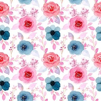 Rosa azul floral aquarela sem costura padrão