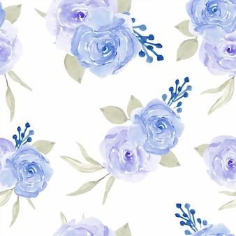 Rosa azul floral sem costura padrão estilo aquarela