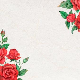 Rosa borda moldura vetorial mídia social fundo flor desenhada à mão