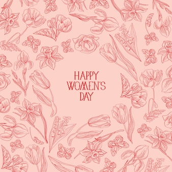 Rosa cartão feliz dia da mulher com muitas flores à direita do texto em vermelho com ilustração vetorial de saudações