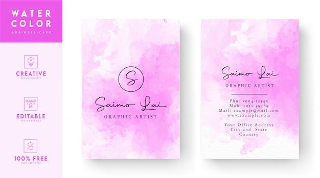 Rosa com design de modelo de cartão de visita em aquarela abstrato branco