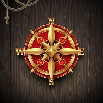 Rosa de compasso dourada do vintage em um fundo de prancha de madeira. ilustração.