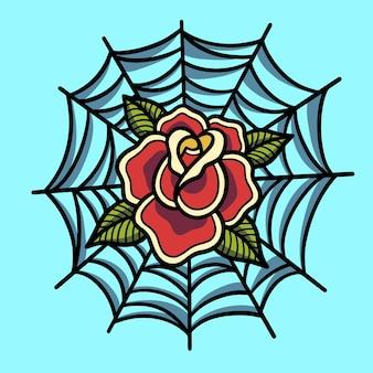 Rosa desenhada à mão dentro da teia de aranha