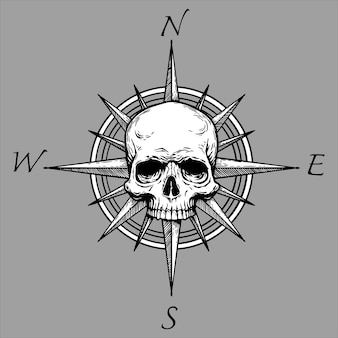 Rosa dos ventos e caveira de pirataria. ilustração