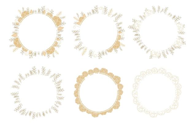 Rosa dourada mínima doodle coleção de quadro de coroa de flores