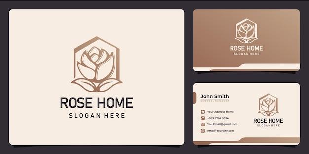 Rosa e casa combinam design de logotipo e cartão de visita