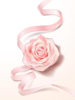Rosa e fita rosa, decoração romântica para casamento ou dia dos namorados na ilustração 3d