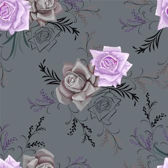 Rosa e flor gráfica sem costura padrão