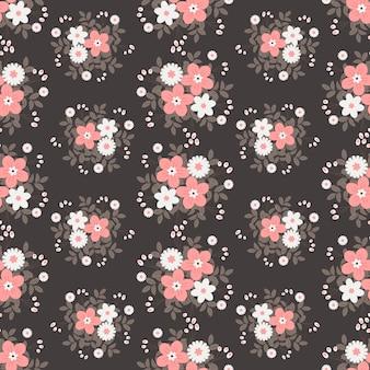 Rosa e flores brancas grinalda hera estilo com galho e folhas, padrão sem emenda