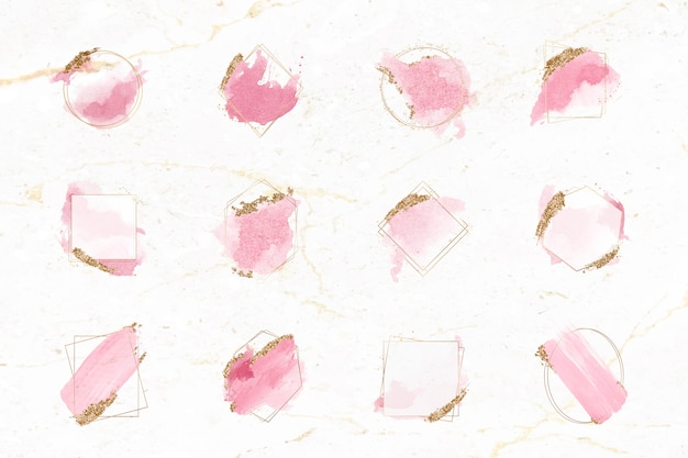 Rosa e ouro escovas conjunto de quadro