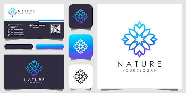 Rosa floral abstrata com logotipo de arte de linha e design de cartão de visita