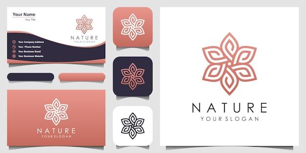 Rosa floral elegante minimalista com design de logotipo e cartão de estilo de arte linha. logotipo para beleza, cosméticos, yoga e spa. design de logotipo e cartão de visita