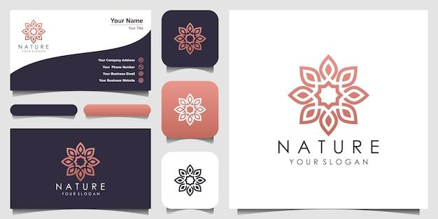 Rosa floral elegante minimalista para beleza, cosméticos, yoga e spa. e cartão de visita