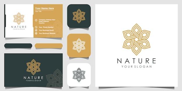 Rosa floral elegante minimalista para beleza, cosméticos, yoga e spa. logotipo e cartão de visita