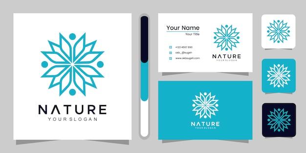 Rosa floral minimalista para beleza, cosméticos, yoga e spa. logotipo e cartão de visita