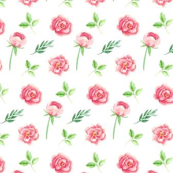Rosa flores e folhas em aquarela sem costura padrão