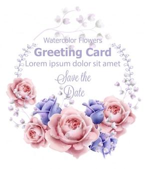 Rosa flores grinalda moldura cartão aquarela