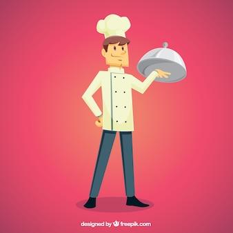 Rosa, fundo, orgulhoso, cozinheiro, segurando, bandeja