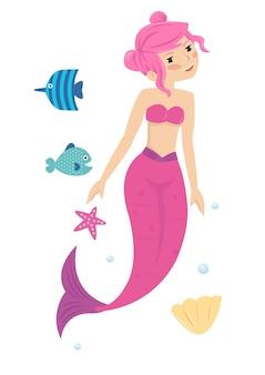 Rosa jovem bonita pequena princesa sereia no mar