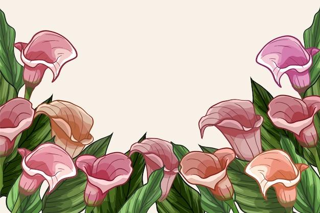 Rosa mão pintada fundo floral