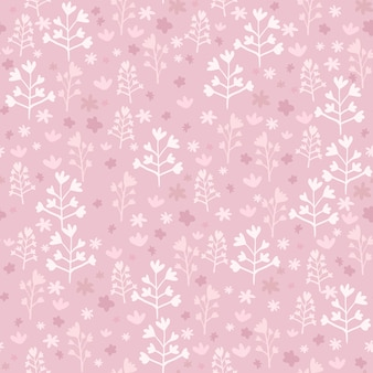 Rosa padrão sem emenda com pequenos elementos florais brancos. trabalho de arte desenhada mão estilizada.