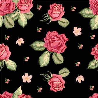 Rosa padrão sem emenda em estilo retro