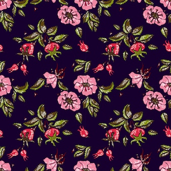 Rosa padrão sem emenda no escuro