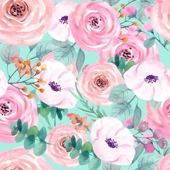 Rosa padrão sem emenda para papel de parede premium