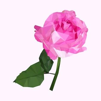 Rosa poligonal geométrica rosa com caule, ilustração de flor polígono isolado