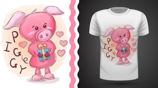 Rosa porquinho idéia para impressão t-shirt