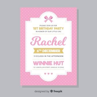 Rosa primeiro cartão de convite de aniversário