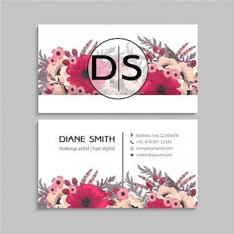 Rosa quente do modelo de cartão de negócios da flor
