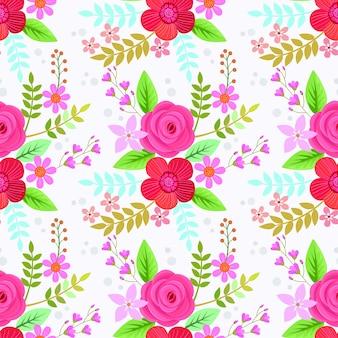 Rosa rosa e outras flores padrão sem emenda