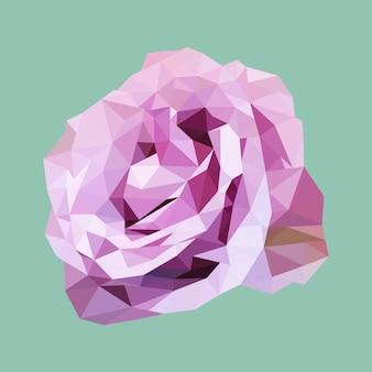 Rosa roxa poligonal, flor do triângulo do polígono, vetor isolado