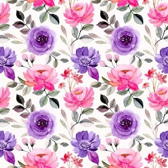 Rosa roxo aquarela floral sem costura padrão