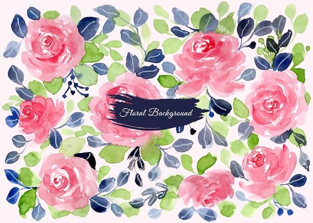 Rosa verde azul floral aquarela fundo