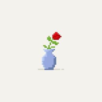 Rosa vermelha do pixel no vaso 8bit.flower.