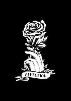 Rosa vermelha e afeto ilustração criativa