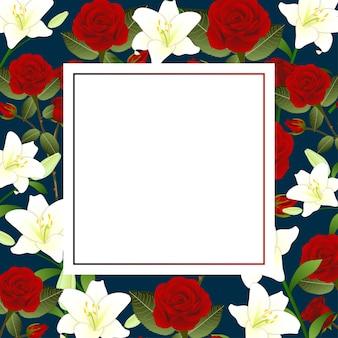 Rosa vermelha e cartão da bandeira do natal da flor do lírio branco.