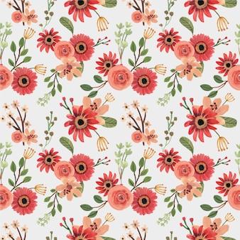 Rosa vermelha floral primavera desenhado à mão padrão sem emenda