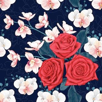 Rosa vermelha sem costura padrão e flores da orquídea rosa