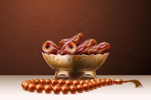 Rosário realista de vetor datas datas ramadan de frutas