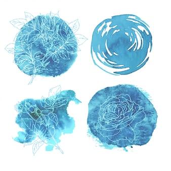 Rosas abstratas do fundo da aguarela azuis. elemento de aquarela para cartão.