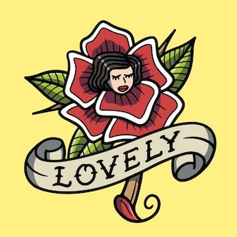 Rosas adoráveis desenhadas à mão