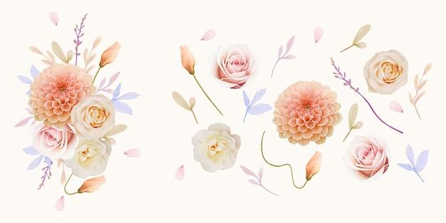 Rosas aquarela e coleção de flores dália