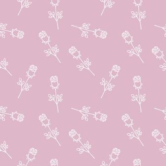 Rosas brancas em um fundo rosa. ilustração em vetor doodle. padrão sem emenda sem fim com contorno de flor rosa. plano de fundo para têxteis, invólucros, design de site ou página da web na internet.