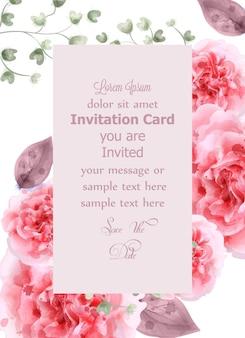 Rosas cor de rosa cartão aquarela