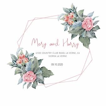Rosas cor de rosa, convite de casamento para cartões de casamento, salvar a data e folhas