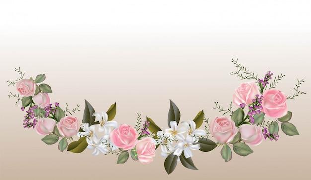 Rosas cor de rosa e ilustração em vetor buquê de jasmim sampaguita